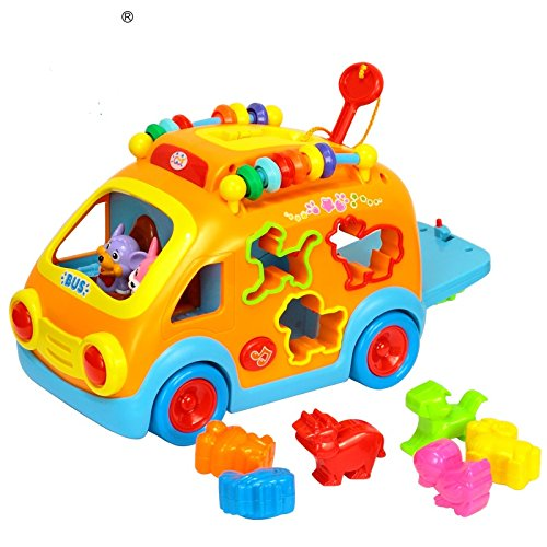 Advanced Play Kids Shape Sorter Activity Bump and go Baby Bus Toy with Music, Lights and Sounds for Toddlers Boys and Girls