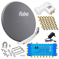 FUBA 8 Deltagare Digital SAT System DAA850A + Opticum LNB 0.1dB Full HDTV 4K + PMSE Multiswitch 5/8 + 24 Guldpläterade F-PlugFree
