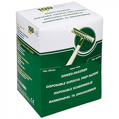 Cuchillas de afeitar desechables para preparación quirúrgica de una sola hoja, paquete de 100