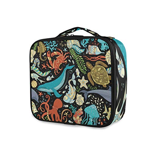 Sac de maquillage portable Dolphin Turtle Fish Starfish Shell Jellyfish And Plants Storage Cute Tools Cosmetic Train Case Travel Toiletry Pouch