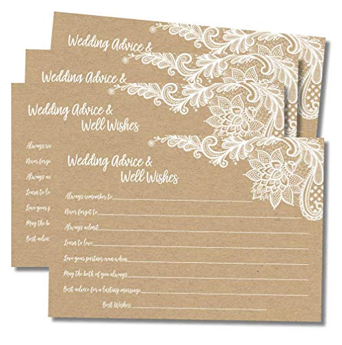 50 Wedding Advice and Well Wishes - Rustic Kraft Lace (50-Cards) Reception Wishing Guest Book Alternative, Bridal Shower Games Note Card Marriage Best Advice Bride to Be or for Mr & Mrs