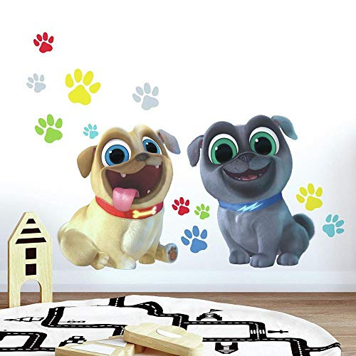 RoomMates Puppy Dog Pals Peel and Stick Giant Wall Decals , Brown, Blue, Yellow, Green, Red , 36.5 x 17.25