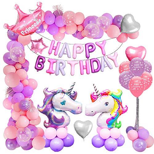 MMTX Decorazioni per Feste Unicorno Compleanno Decorazioni per Ragazza, 46' Unicorno palloncini, Festone Buon Compleanno Banner, Corona Foil Elio Palloncini in Lattice per Addobbi Compleanno Battesimo
