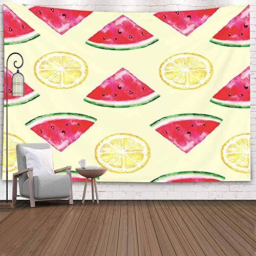Tapiz de Puerta, Tapiz Fresco para Dormitorio, Tapiz de patrón, rodajas de Acuarela, sandía, limón, Colores Brillantes de Verano, Tapiz Grande, Tapiz de Vida, Tapiz Bonito