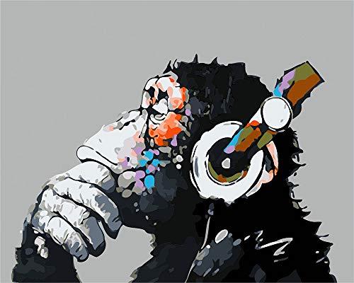 Malen nach Zahlen für Erwachsene, Kinder, Anfänger, einfaches Acryl auf Leinwand, 40,6 x 50,8 cm, mit Farben und Pinsel, musikalischer Gorilla (ohne Rahmen)