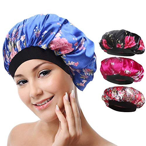 4 paket Weiche Satin Schlafmütze Wide Band Salon Bonnet Silk Nacht Schlaf Hut Haarausfall Kappe für Frauen, 4 Arten