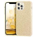 MATEPROX Glitter Cristal Brillante para Funda iPhone 12 Pro/iPhone 12 Cover, TPU Bumper Bling Protector Fundas para iPhone 12 Pro/iPhone 12 6.1'' 2020-Oro