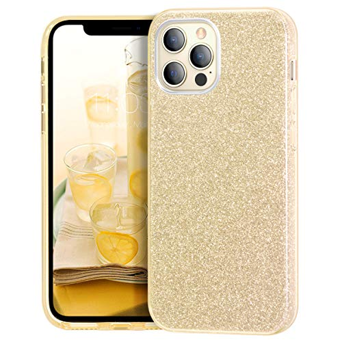 MATEPROX Compatible with iPhone 12 Pro case Compatible with iPhone 12 Cases Glitter Bling Sparkle Cute Girls Women Protective Cover (Gold)