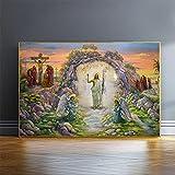 VVBGL Lienzo clásico de la Iglesia Pintura Resurrección Jesús Poster e Impresiones Arte religioso de la Pared Estilo Moderno Decoracion de la Pared de la habitación Cuadros 50x70cm Sin Marco
