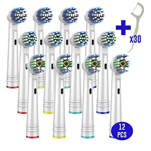 LAZZARU Vervangende Borstelkoppen voor Oral-B Elektrische Tandenborstel - Pack 12 pcs + 30 Tandzijde - Precision Clean - Pro White - Flexisoft