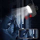 Security Camera Outdoor Wireless WiFi with Floodlight Audio Sound Microphone Night Vision 32GB SD Card No Battery. WESECUU Smart Home Devices for Home Security with Motion Detection Siren Alarm