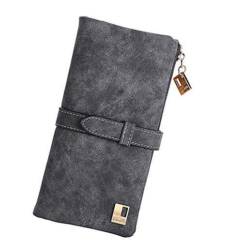 Grosser 60% Off - Woolala Damen Vintage Style Brieftasche Bifold Nubuck Drawstring Portemonnaie Lange Geldbörse, Grau