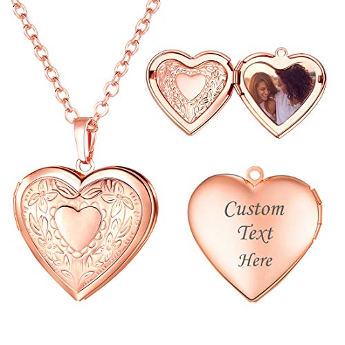 Rose Gold Locket Necklace with Rolo Chain 22 Inch, Mother's Day Gift Romantic Flower Heart Photo Locket Pendant for Women Girls