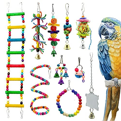 GreeStore 10Pcs Bird Parrot Toy Set, Colourful Pet Bird Swing Hanging Chewing Toys Ball Bell Toys Bird Cage Training Accessories for Love Birds, Parrots, Parakeet, Conure, Cockatiel, Mynah