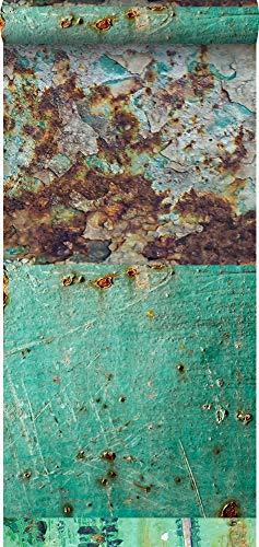 behang XXL patchwork roestige metalen platen zeegroen en bruin - 158203 - van ESTAhome