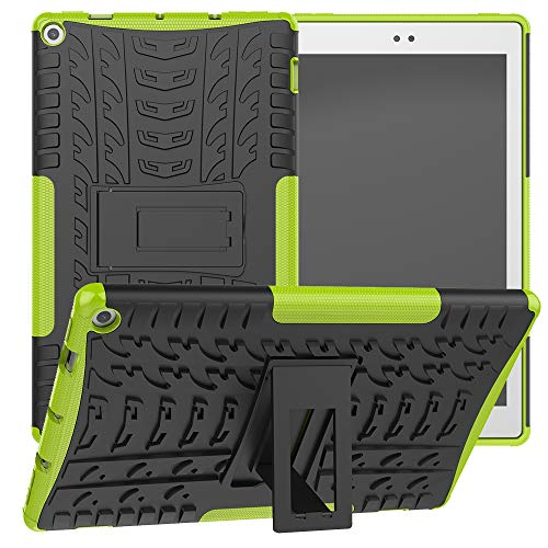CLARKCAS Case for Kinlde Fire HD 10 10.1 Inch 2019/2017, Heavy Duty with Kickstand Full Protective Rugged Rubber Hard Shockproof Cases Cover for Amazon Kindle Fire HD 10 9th/7th Generation,Green