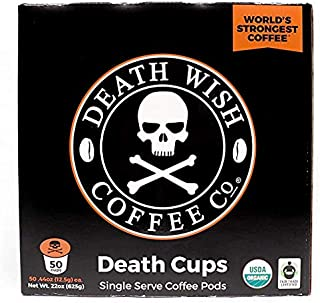 Death Wish Single Serve Coffee Pods for K-Cup Style 2.0 Brewers, USDA Certified Organic..