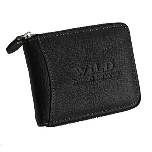 Wild Things Only !!! Herrengeldbörse Geldbörse Portemonnaie umlaufender Reißverschluss, echt Leder (Schwarz) - präsentiert von ZMOKA®
