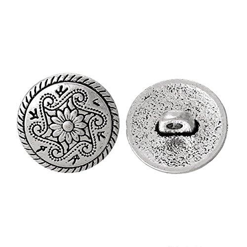 Sadingo Runde Metallknöpfe mit Öse zum annähen, Antik Silber, Blumenmuster - 10 Stück - 15 mm - Bastelknöpfe, Ösenknöpfe