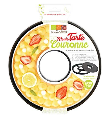 ScrapCooking Moule Anti-adhésif Tarte à Trou/Couronne, Acier au Carbone avec revêtement antiadhésif apte au Contact Alimentaire, Noir, 30 x H2,5 cm