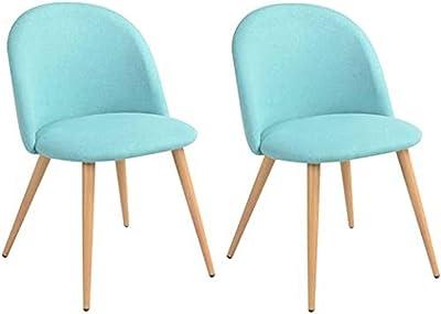 MEUBLE COSY Lot de 2 Chaise de Salle à Manger Tissu Bleu Chaise de Bureau Ergonomique Pieds Métal avec Finition en Bois
