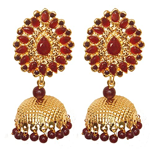 Pahal tradicional Jadau rojo oscuro Kundan Pearl Big Gold Jhumka Pendientes indios Bollywood joyería nupcial para mujeres