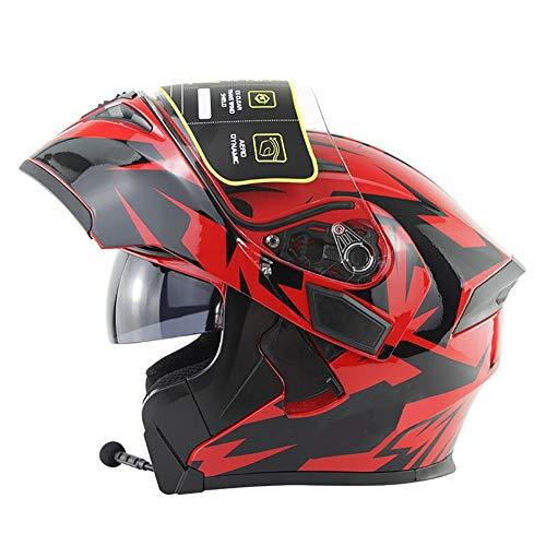 Casco Moto Modular con Bluetooth Headset, Cascos de Motocicleta con Doble Anti Niebla Visera, ECE Homologado a Prueba de Viento para Adultos Hombres Mujeres 55-64CM