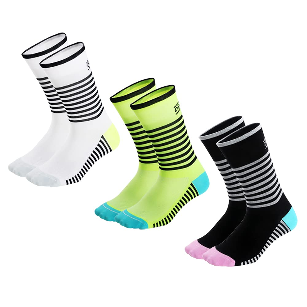 DH Cycling Socks 3 Pairs of Outdoor Sports Socks for Men and Women Mountain Rad Bike Socks are Comfortable and Breathable