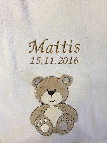 Couverture pour bébé douce et douillette, brodée avec le prénom et la date de naissance, qualité1A, personnalisable
