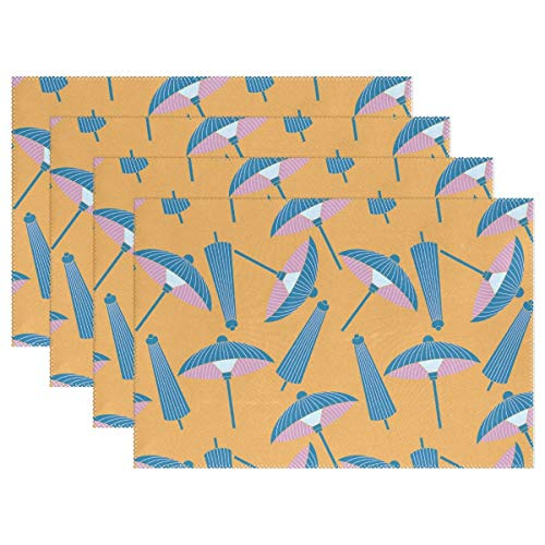 Promini Hitzebeständige Tischsets im japanischen Stil, blaues Regenschirm-Muster, waschbar, Polyester, rutschfest, waschbar, Platzsets für Küche und Esszimmer, 4 Stück