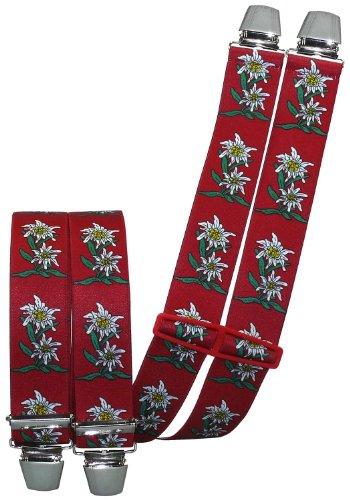 Harrys-Collection Hosenträger mit 4 extra starken Clips Edelweiß 6 Farben!, Farben:rot
