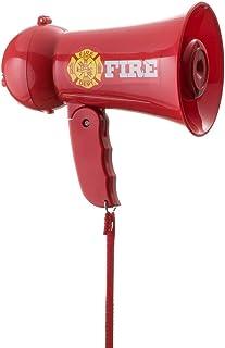 Dress up America - Megáfono de Juguete de Bombero con Sonido de Sirena y micrófono de Mano, Color Rojo (911)