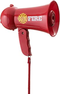 Dress Up America Pretend Play Kids Fire Fighter's Megaphone (Bullhorn) with Siren Sound. Handheld Mic Toy