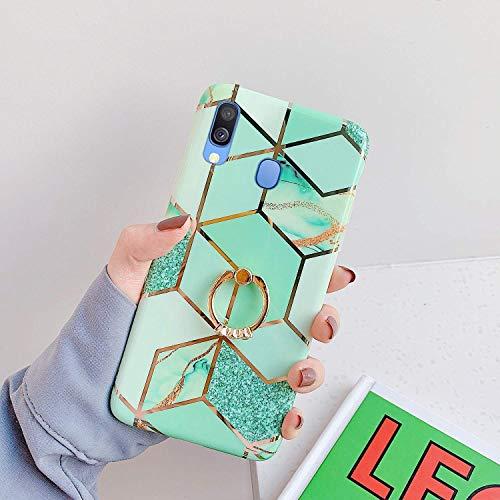 Herbests Kompatibel mit Samsung Galaxy A40 Hülle Bunt Marmor Muster TPU Silikon Handyhülle Glänzend Bling Glitzer Diamant Strass Ring Halter Ständer Ultra Dünn Crystal Schutzhülle,Gold Grün