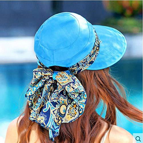 Pieghevoli UV Di Protezione Cappelli,Cappello estivo da sole cappello da sole femminile da equitazione bicicletta pieghevole da spiaggia cappello da sole estivo femminile grande lungo copertura viso