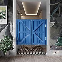 サルーンカフェスイングドア、地中海スタイルのカウボーイバーハーフウエストスイングドア自動閉鎖ステンレススチールヒンジ、キッチンレストランポーチ仕切りドア室内装飾 パインウッドカフェドア、カスタム (110x90cm,Dark blue)