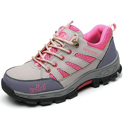 CHNHIRA Arbeitsschuhe Damen Stahlkappe Sicherheitsschuhe Rutschhemmend Sportlich Trekking Wanderhalbschuhe(EU 40,C violett)