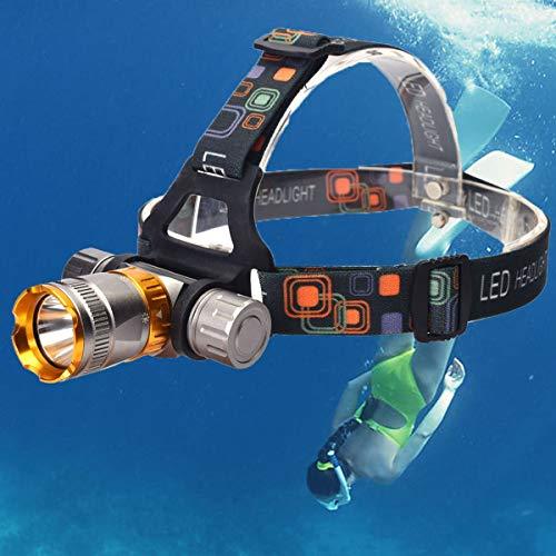 WANGYUAN Interruptor magnético Resistente al Agua de Alto Rendimiento T6, iluminación subacuática de 5 Modos, 1200 lúmenes, 18650, para Camping, Senderismo, Pesca, Buceo, Plata