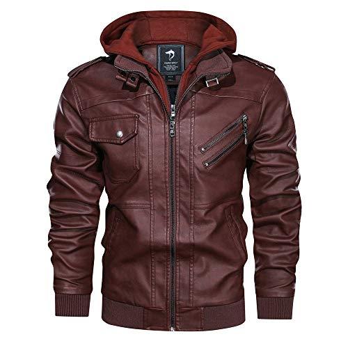 TITISKIN Men's waterproof faux leather motorcycle jacket with removable hood (Brown, Medium)