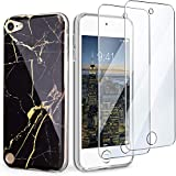 IDWELL iPod Touch Case with 2 Screen Protectors, iPod 7 iPod 6 iPod 5 Marble Case, Slim FIT Anti-Scratch Flexible Soft TPU Bumper Hybrid Shockproof Protective Case for iPod Touch 5/6/7th, Black Marble