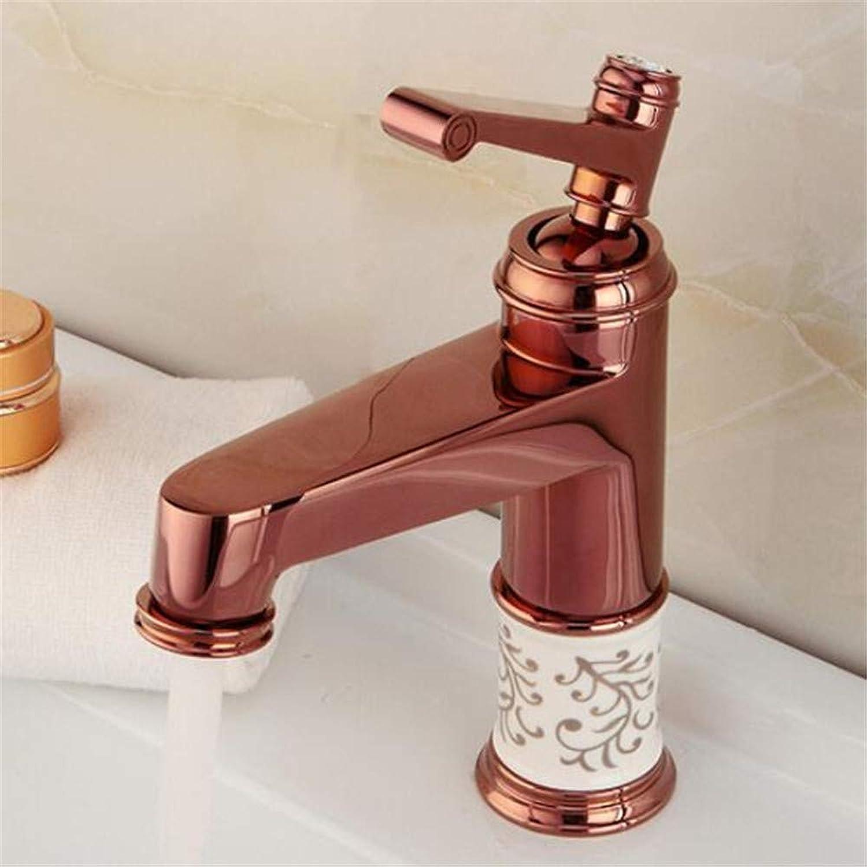 Faucetbasin Mixer Tap pink gold Hot and Cold Water Mixing Basin Basin Basin Faucet European Table Top Basin Faucet