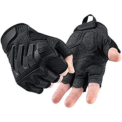 AXBXCX Touch Screen Half Finger Gloves for Motorcycle Cycling Tactical Paintball Airsoft ATV Bike Hunting Climbing Hiking Outdoor Sports Work Halloween Costume Fingerless Gloves Black XL