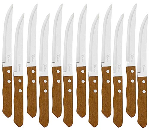 Juego de 12 Cuchillos de mesa con mango de madera natural, Cuchillo de Carne Acero Inoxidable - Hoja de Filo Liso