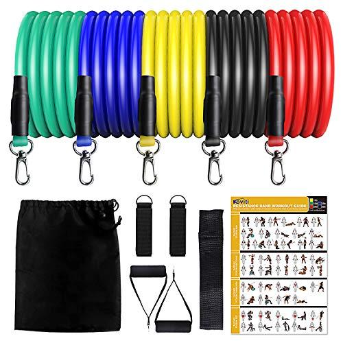 Resistance Bands Fitnessbänder Set 12 Pack, Indoor/Outdoor Workout Bands, Gymnastikband Fitnessband Widerstandsband Set mit Expander, Griffe, Türanker, Fußschlaufen, Tragetasche