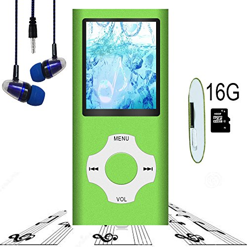 MP3 Player / MP4 Player, Hotechs MP3 Music Player with 16GB Memory SD Card Slim Classic Digital LCD 1.82 Screen with FM Radio,
