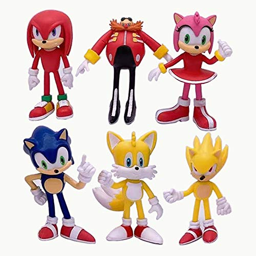 Sonic Hedgehog Action Figures Toys 6pcs/Set 4 inch Super Sonic |Tails| Amy| Rose| Dr. Eggman| Knuckles The Echidna Toys Cake Toppers Decorations Collection Playset