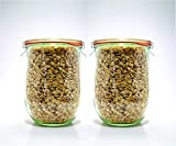 Weck Jars - Weck Tulip Jars 1 Liter - Large Sour Dough Starter Jars - Tulip Jar with Wide Mouth -...