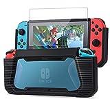 Tasikar Nintendo Switch カバー 耐衝撃 強化グリップゴム保護 ニンテンドースイッチ ケース 強化ガラス保護フィルム付き(ブルー)