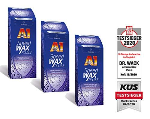 ILODA 3X 500ml Dr. Wack A1 Speed Wax Plus 3, Auto-Hartwachs, Auto-Wachs, Lackschutz, Lackversiegelung, Carnauba-Wachs mit extrem langanhaltenden Wasser-Abperl-Effekt für alle Lacke