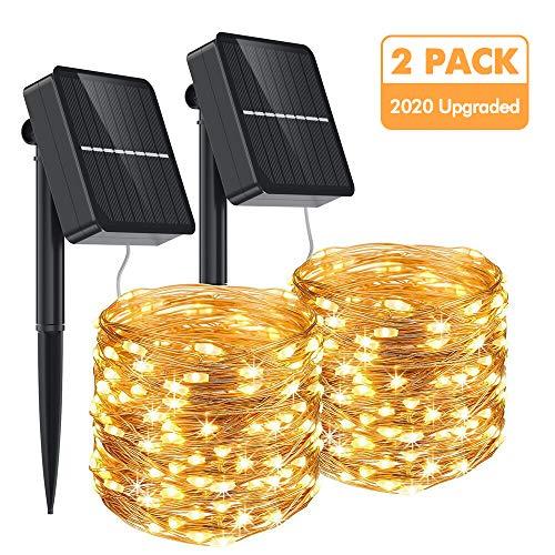 Aerb Guirnalda Luz Exterior Solar, 2 Pack Cadena de Luces 15M 150 LED, Panel Solar de 85X85mm, Impermeable Iluminación Decoración para Árbol en Jardín, Navidad, Fiesta, Patio, Celebración, Casa